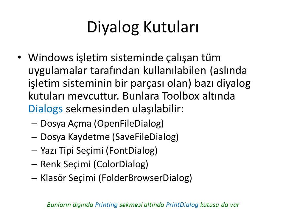 Diyalog Kutuları Windows işletim sisteminde çalışan tüm uygulamalar tarafından kullanılabilen (aslında işletim sisteminin bir parçası olan) bazı diyalog kutuları mevcuttur.