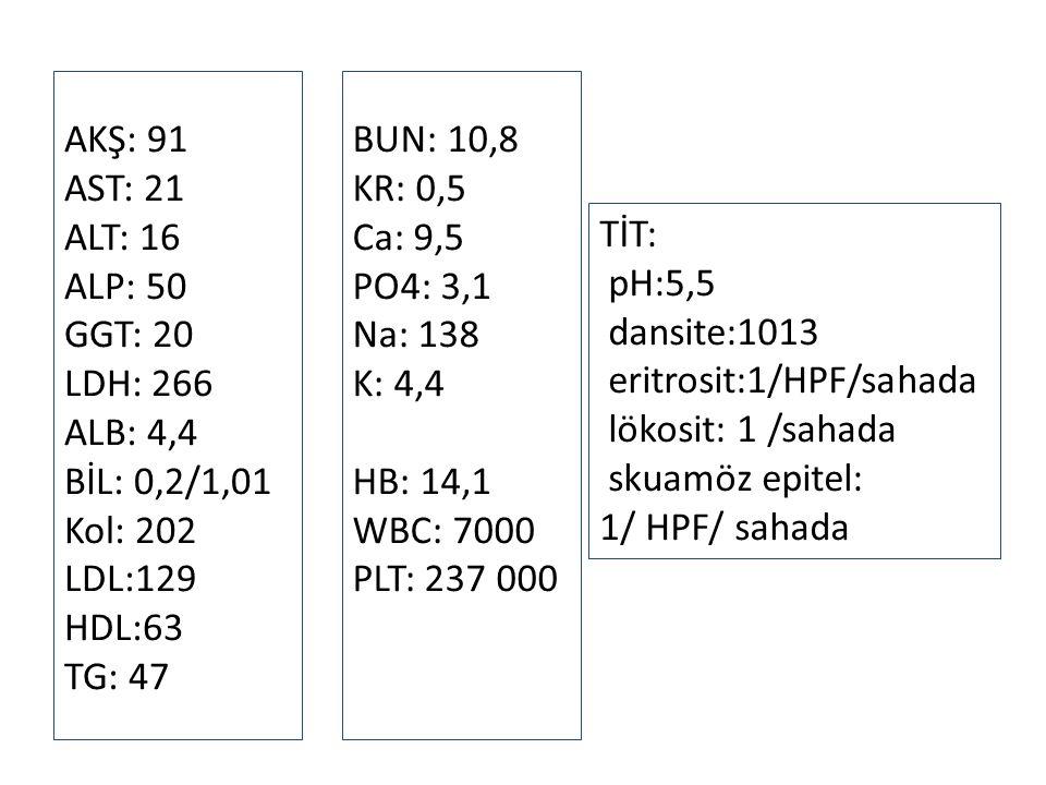 AKŞ: 91 AST: 21 ALT: 16 ALP: 50 GGT: 20 LDH: 266 ALB: 4,4 BİL: 0,2/1,01 Kol: 202 LDL:129 HDL:63 TG: 47 BUN: 10,8 KR: 0,5 Ca: 9,5 PO4: 3,1 Na: 138 K: 4,4 HB: 14,1 WBC: 7000 PLT: 237 000 TİT: pH:5,5 dansite:1013 eritrosit:1/HPF/sahada lökosit: 1 /sahada skuamöz epitel: 1/ HPF/ sahada