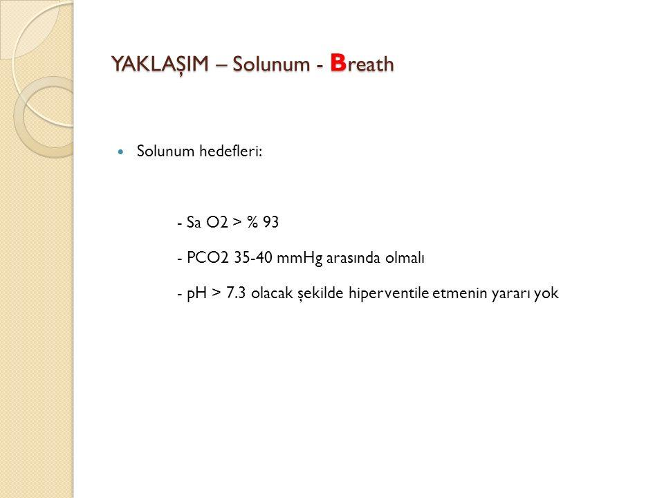 YAKLAŞIM – Solunum - B reath Solunum hedefleri: - Sa O2 > % 93 - PCO2 35-40 mmHg arasında olmalı - pH > 7.3 olacak şekilde hiperventile etmenin yararı yok