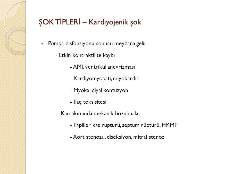 ŞOK T İ PLER İ – Kardiyojenik şok Pompa disfonsiyonu sonucu meydana gelir - Etkin kontraktilite kaybı - AMI, ventrikül anevrizması - Kardiyomyopati, miyokardit - Myokardiyal kontüzyon - İ laç toksisitesi - Kan akımında mekanik bozulmalar - Papiller kas rüptürü, septum rüptürü, HKMP - Aort stenozu, diseksiyon, mitral stenoz