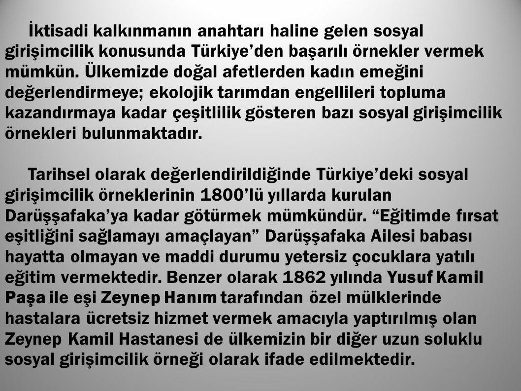 İktisadi kalkınmanın anahtarı haline gelen sosyal girişimcilik konusunda Türkiye'den başarılı örnekler vermek mümkün. Ülkemizde doğal afetlerden kadın