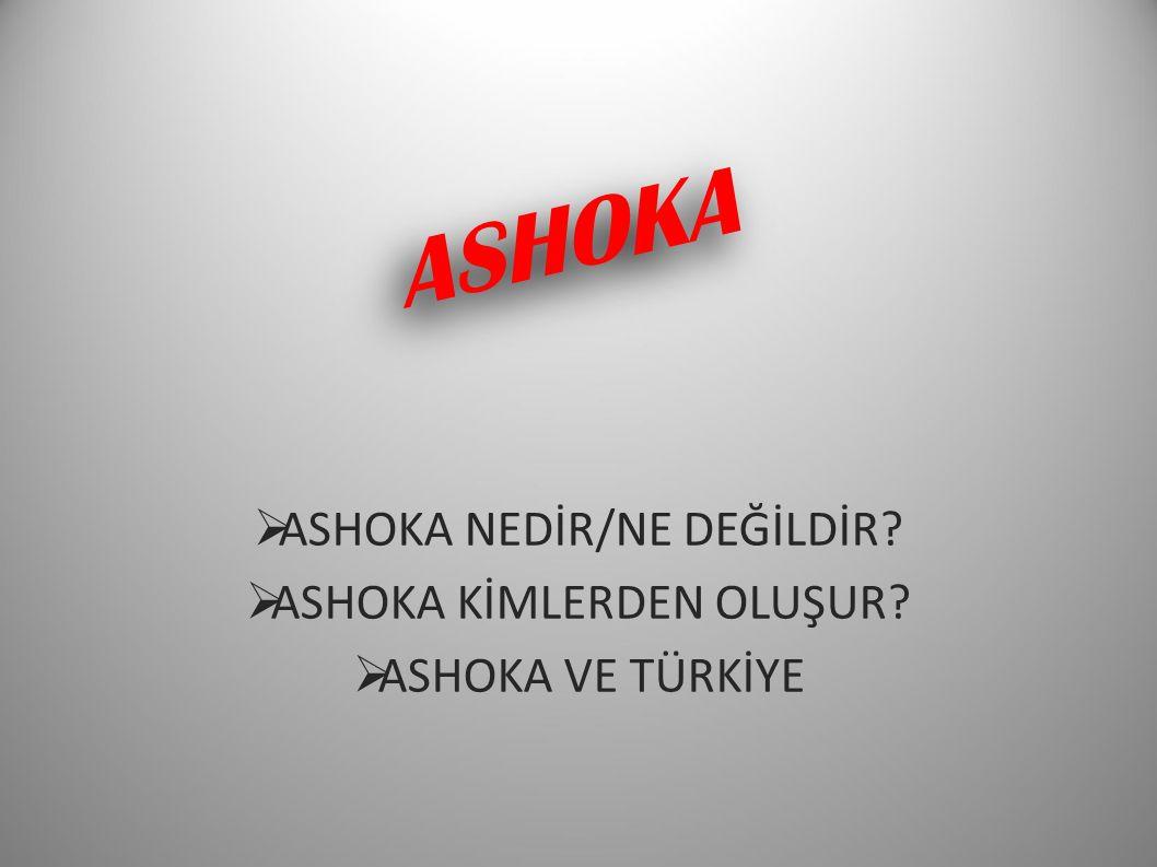 ASHOKA  ASHOKA NEDİR/NE DEĞİLDİR?  ASHOKA KİMLERDEN OLUŞUR?  ASHOKA VE TÜRKİYE