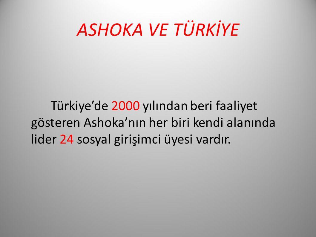 ASHOKA VE TÜRKİYE Türkiye'de 2000 yılından beri faaliyet gösteren Ashoka'nın her biri kendi alanında lider 24 sosyal girişimci üyesi vardır.