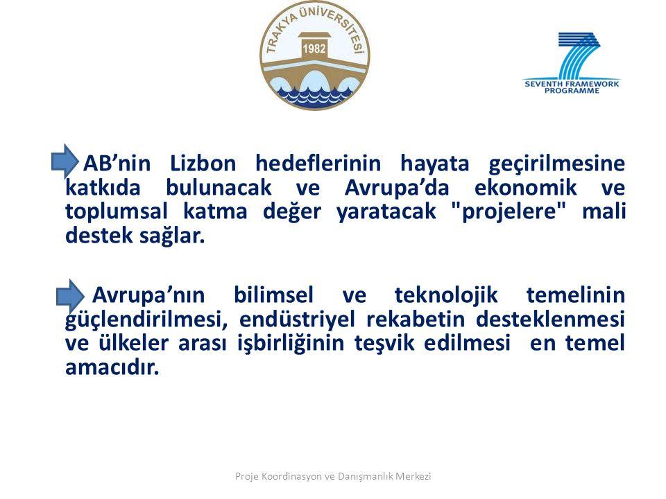 - AB'nin Lizbon hedeflerinin hayata geçirilmesine katkıda bulunacak ve Avrupa'da ekonomik ve toplumsal katma değer yaratacak projelere mali destek sağlar.