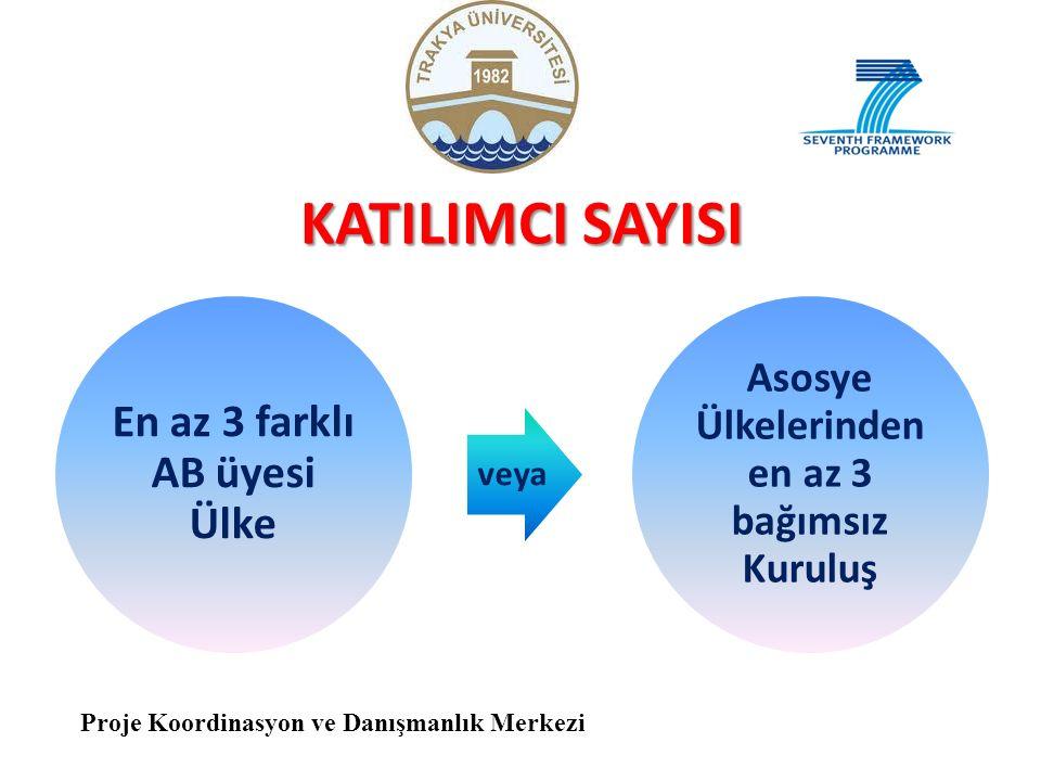 KATILIMCI SAYISI En az 3 farklı AB üyesi Ülke veya Asosye Ülkelerinden en az 3 bağımsız Kuruluş Proje Koordinasyon ve Danışmanlık Merkezi