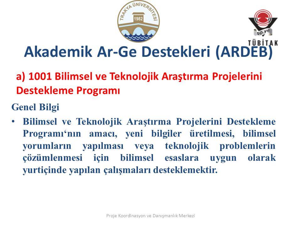 Akademik Ar-Ge Destekleri (ARDEB) a) 1001 Bilimsel ve Teknolojik Araştırma Projelerini Destekleme Programı Genel Bilgi Bilimsel ve Teknolojik Araştırm
