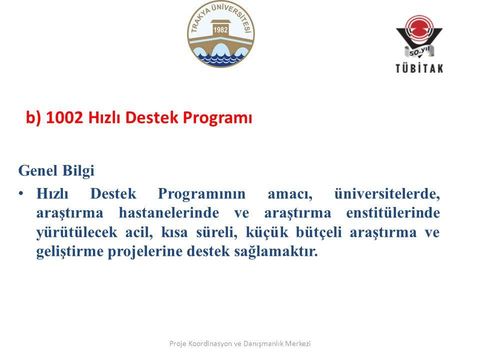 b) 1002 Hızlı Destek Programı Genel Bilgi Hızlı Destek Programının amacı, üniversitelerde, araştırma hastanelerinde ve araştırma enstitülerinde yürütülecek acil, kısa süreli, küçük bütçeli araştırma ve geliştirme projelerine destek sağlamaktır.