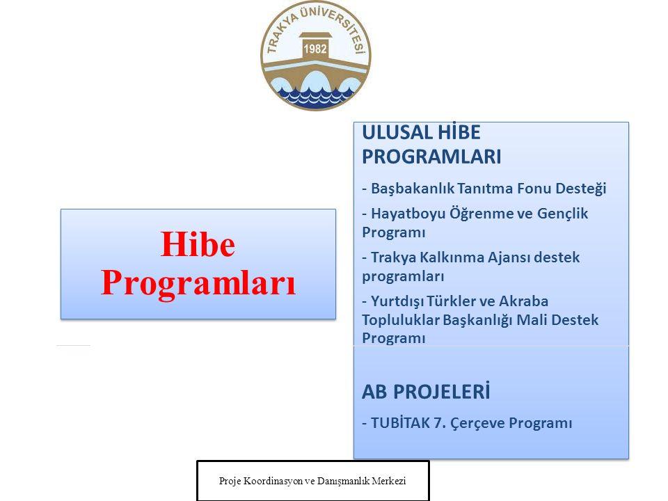 Hibe Programları ULUSAL HİBE PROGRAMLARI - Başbakanlık Tanıtma Fonu Desteği - Hayatboyu Öğrenme ve Gençlik Programı - Trakya Kalkınma Ajansı destek programları - Yurtdışı Türkler ve Akraba Topluluklar Başkanlığı Mali Destek Programı AB PROJELERİ - TUBİTAK 7.