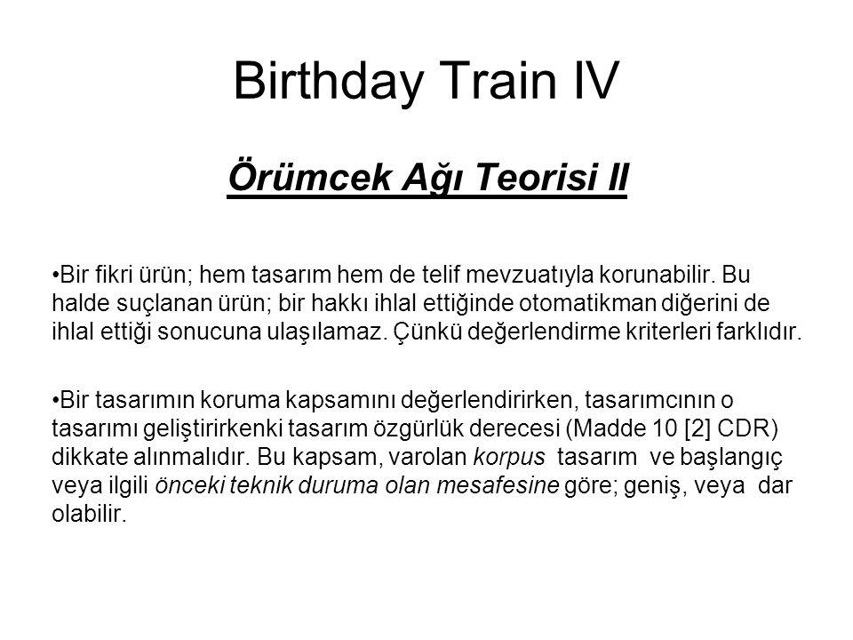 Birthday Train IV Örümcek Ağı Teorisi II Bir fikri ürün; hem tasarım hem de telif mevzuatıyla korunabilir. Bu halde suçlanan ürün; bir hakkı ihlal ett