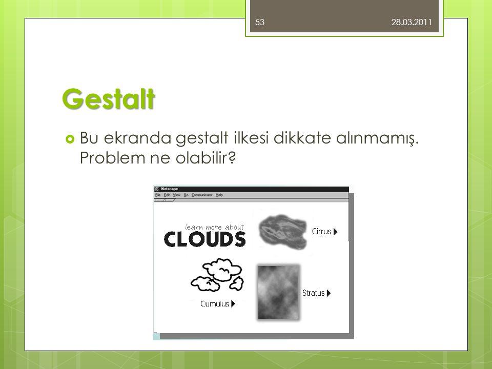 Gestalt  Bu ekranda gestalt ilkesi dikkate alınmamış. Problem ne olabilir? 28.03.2011 53
