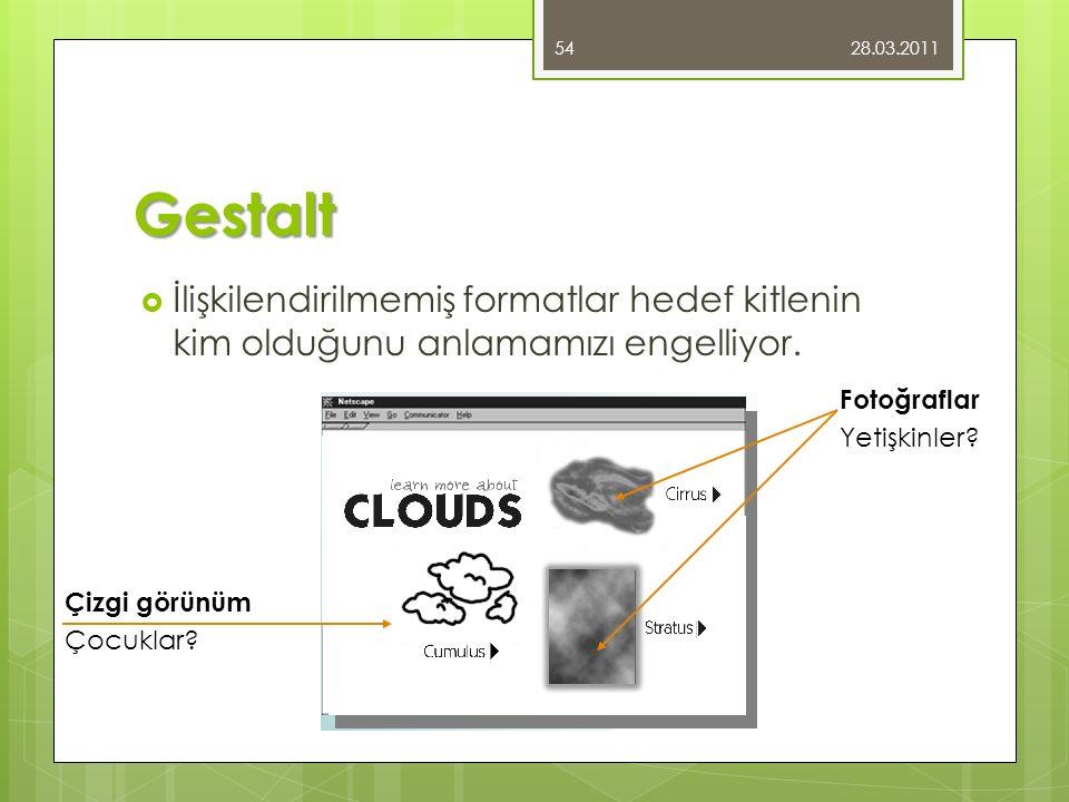 Gestalt  İlişkilendirilmemiş formatlar hedef kitlenin kim olduğunu anlamamızı engelliyor. 28.03.2011 54 Çizgi görünüm Çocuklar? Fotoğraflar Yetişkinl