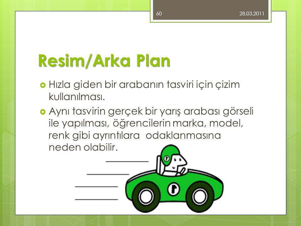 Resim/Arka Plan  Hızla giden bir arabanın tasviri için çizim kullanılması.  Aynı tasvirin gerçek bir yarış arabası görseli ile yapılması, öğrenciler