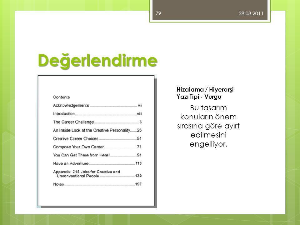 Değerlendirme 28.03.2011 79 Bu tasarım konuların önem sırasına göre ayırt edilmesini engelliyor. Hizalama / Hiyerarşi Yazı Tipi - Vurgu
