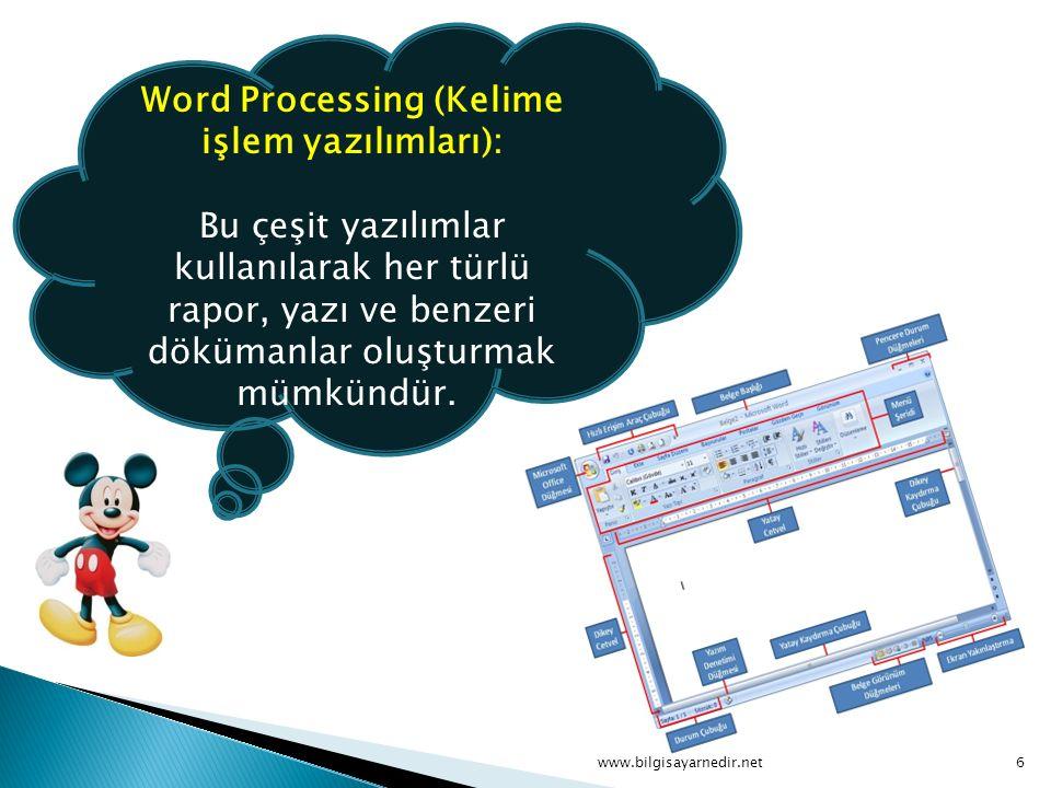 Word Processing (Kelime işlem yazılımları): Bu çeşit yazılımlar kullanılarak her türlü rapor, yazı ve benzeri dökümanlar oluşturmak mümkündür. www.bil