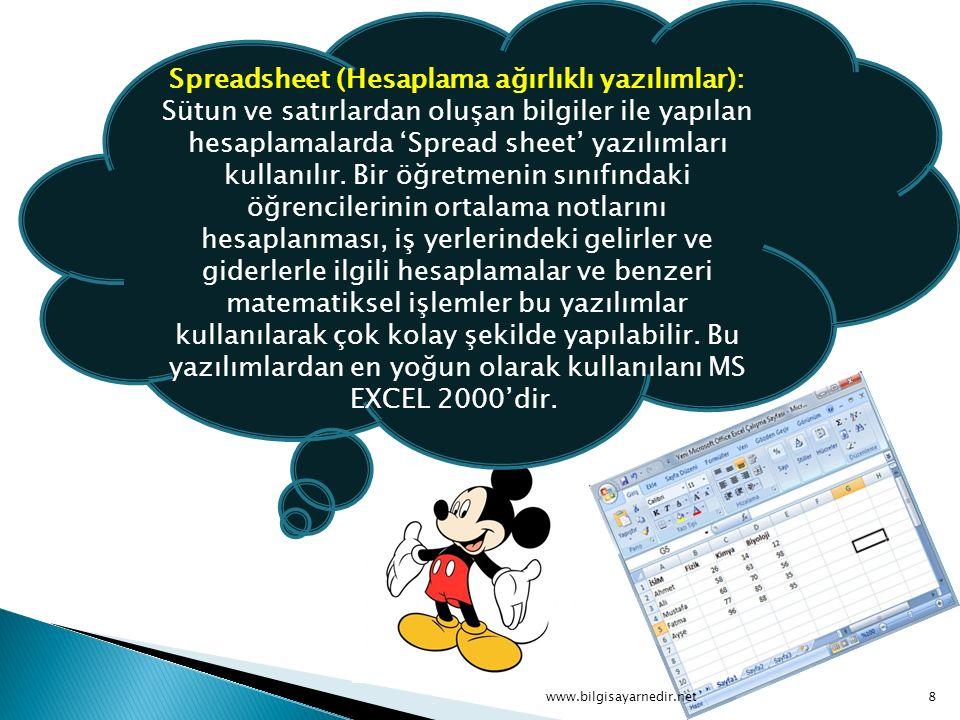 Spreadsheet (Hesaplama ağırlıklı yazılımlar): Sütun ve satırlardan oluşan bilgiler ile yapılan hesaplamalarda 'Spread sheet' yazılımları kullanılır. B