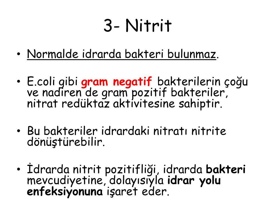 3- Nitrit Normalde idrarda bakteri bulunmaz. E.coli gibi gram negatif bakterilerin çoğu ve nadiren de gram pozitif bakteriler, nitrat redüktaz aktivit