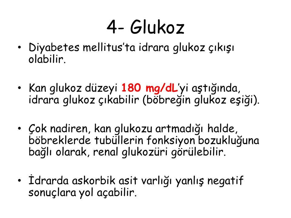 4- Glukoz Diyabetes mellitus'ta idrara glukoz çıkışı olabilir. Kan glukoz düzeyi 180 mg/dL'yi aştığında, idrara glukoz çıkabilir (böbreğin glukoz eşiğ
