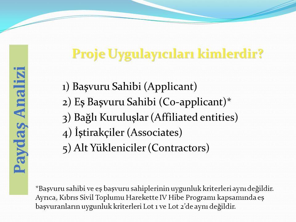 Proje Uygulayıcıları kimlerdir? 1) Başvuru Sahibi (Applicant) 2) Eş Başvuru Sahibi (Co-applicant)* 3) Bağlı Kuruluşlar (Affiliated entities) 4) İştira
