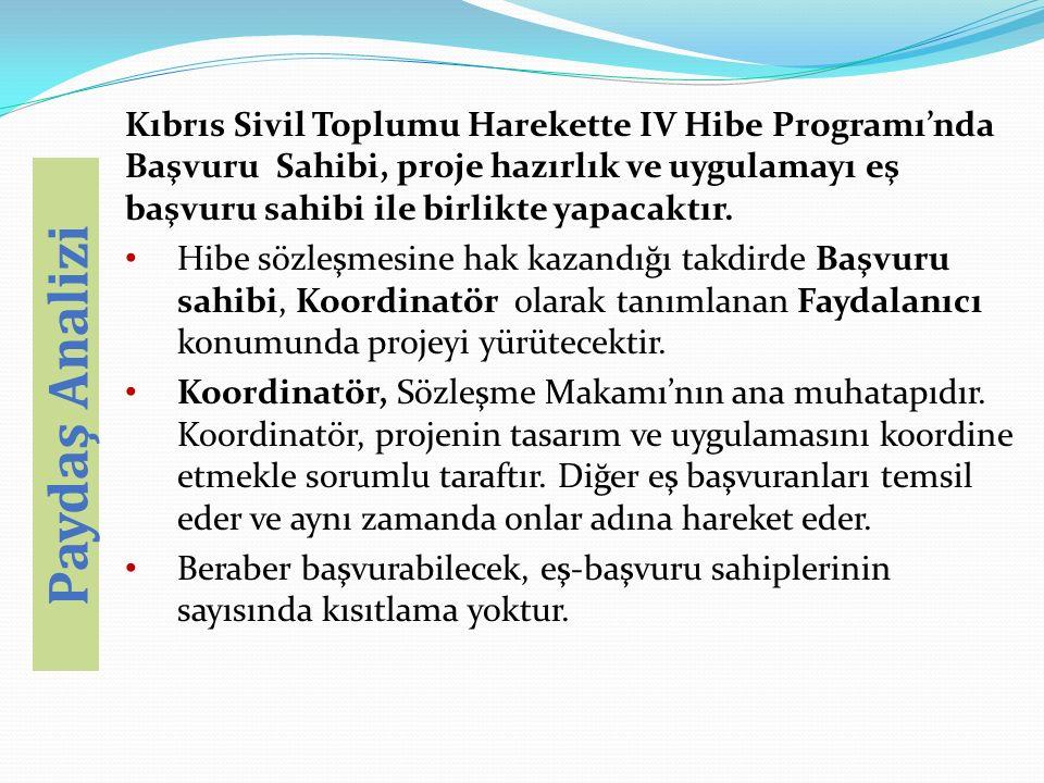 Kıbrıs Sivil Toplumu Harekette IV Hibe Programı'nda Başvuru Sahibi, proje hazırlık ve uygulamayı eş başvuru sahibi ile birlikte yapacaktır. Hibe sözle