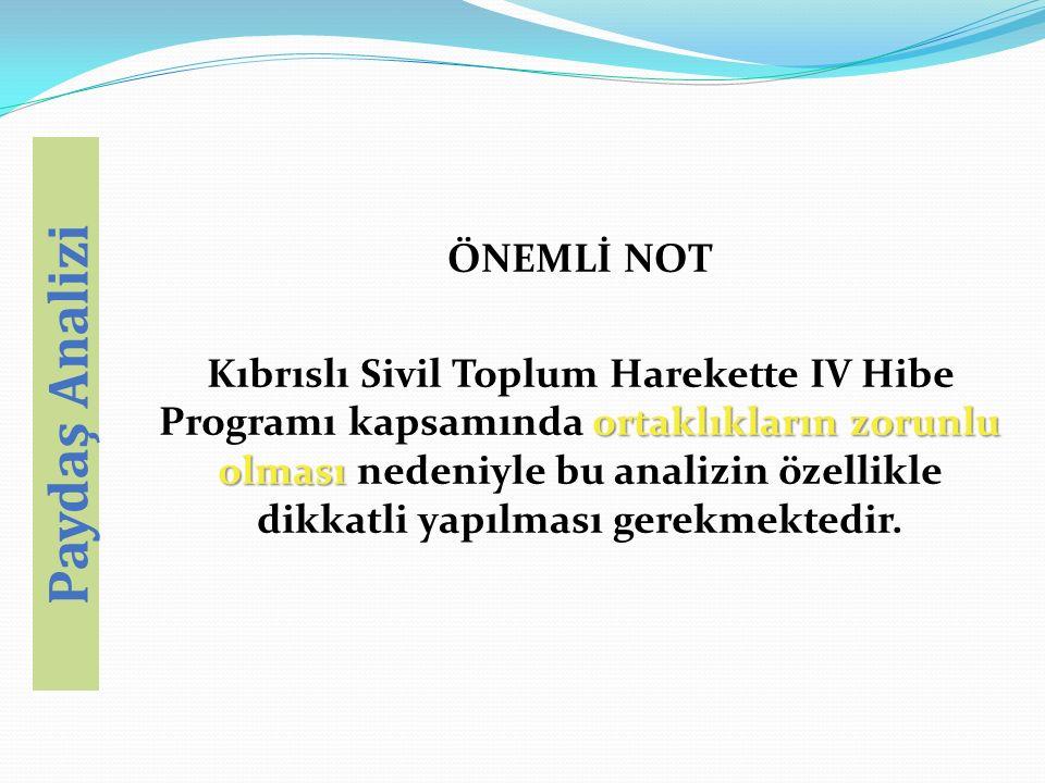 ÖNEMLİ NOT ortaklıkların zorunlu olması Kıbrıslı Sivil Toplum Harekette IV Hibe Programı kapsamında ortaklıkların zorunlu olması nedeniyle bu analizin özellikle dikkatli yapılması gerekmektedir.