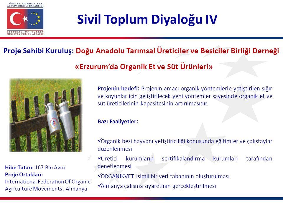 Proje Sahibi Kuruluş: Doğu Anadolu Tarımsal Üreticiler ve Besiciler Birliği Derneği «Erzurum'da Organik Et ve Süt Ürünleri» Projenin hedefi: Projenin amacı organik yöntemlerle yetiştirilen sığır ve koyunlar için geliştirilecek yeni yöntemler sayesinde organik et ve süt üreticilerinin kapasitesinin artırılmasıdır.
