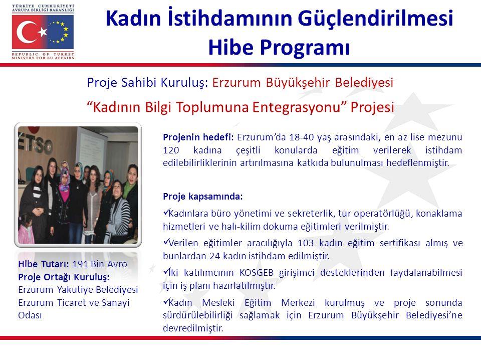 Kadın İstihdamının Güçlendirilmesi Hibe Programı Proje Sahibi Kuruluş: Erzurum Büyükşehir Belediyesi Kadının Bilgi Toplumuna Entegrasyonu Projesi Projenin hedefi: Erzurum'da 18-40 yaş arasındaki, en az lise mezunu 120 kadına çeşitli konularda eğitim verilerek istihdam edilebilirliklerinin artırılmasına katkıda bulunulması hedeflenmiştir.