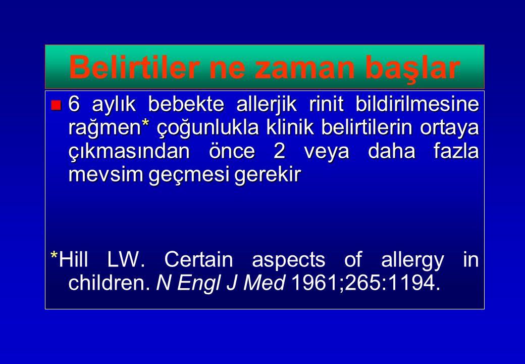 6 aylık bebekte allerjik rinit bildirilmesine rağmen* çoğunlukla klinik belirtilerin ortaya çıkmasından önce 2 veya daha fazla mevsim geçmesi gerekir 6 aylık bebekte allerjik rinit bildirilmesine rağmen* çoğunlukla klinik belirtilerin ortaya çıkmasından önce 2 veya daha fazla mevsim geçmesi gerekir *Hill LW.
