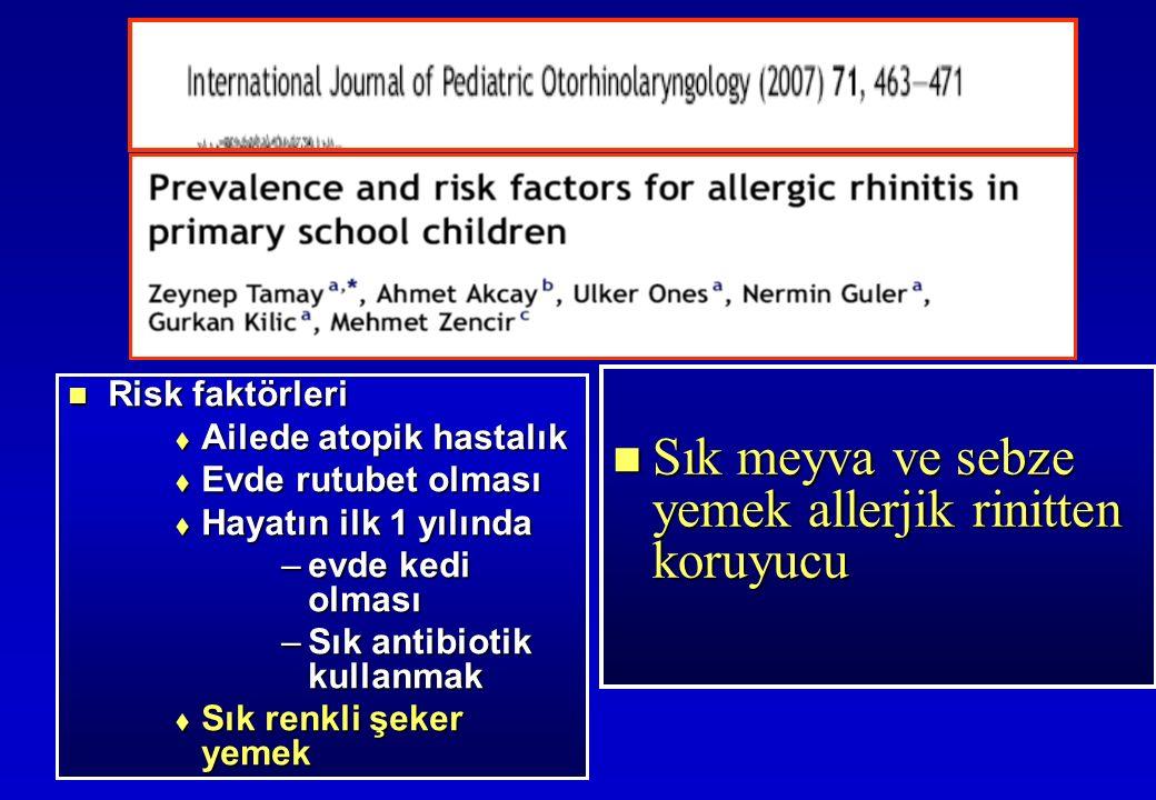 Risk faktörleri Risk faktörleri  Ailede atopik hastalık  Evde rutubet olması  Hayatın ilk 1 yılında –evde kedi olması –Sık antibiotik kullanmak  Sık renkli şeker yemek Sık meyva ve sebze yemek allerjik rinitten koruyucu Sık meyva ve sebze yemek allerjik rinitten koruyucu