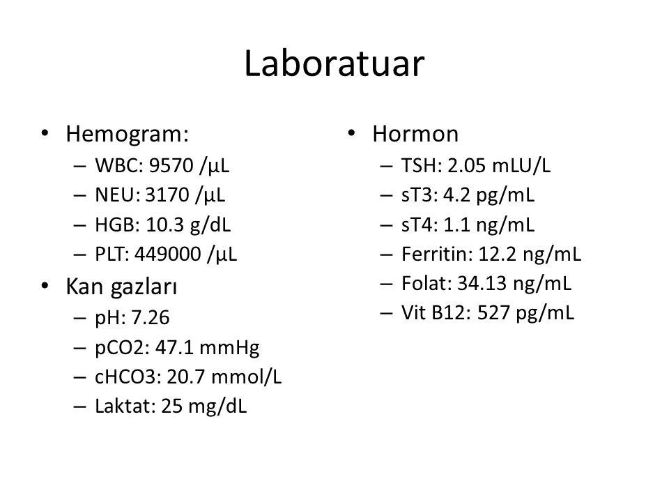 Laboratuar Hemogram: – WBC: 9570 /µL – NEU: 3170 /µL – HGB: 10.3 g/dL – PLT: 449000 /µL Kan gazları – pH: 7.26 – pCO2: 47.1 mmHg – cHCO3: 20.7 mmol/L – Laktat: 25 mg/dL Hormon – TSH: 2.05 mLU/L – sT3: 4.2 pg/mL – sT4: 1.1 ng/mL – Ferritin: 12.2 ng/mL – Folat: 34.13 ng/mL – Vit B12: 527 pg/mL