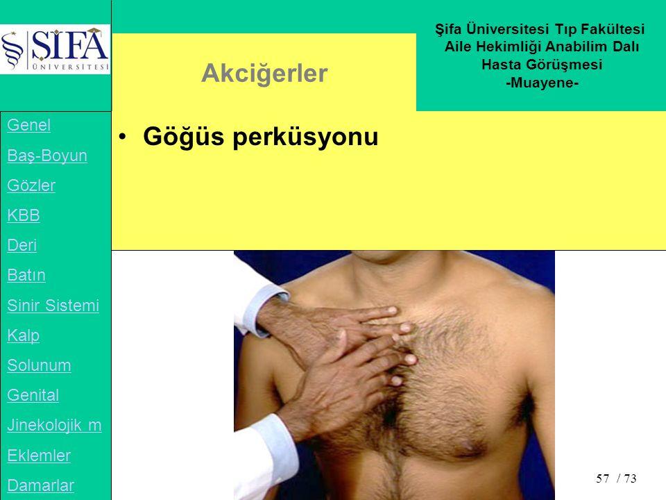 Şifa Üniversitesi Tıp Fakültesi Aile Hekimliği Anabilim Dalı Hasta Görüşmesi -Muayene- Genel Baş-Boyun Gözler KBB Deri Batın Sinir Sistemi Kalp Solunum Genital Jinekolojik m Eklemler Damarlar / 73 57 Akciğerler Göğüs perküsyonu