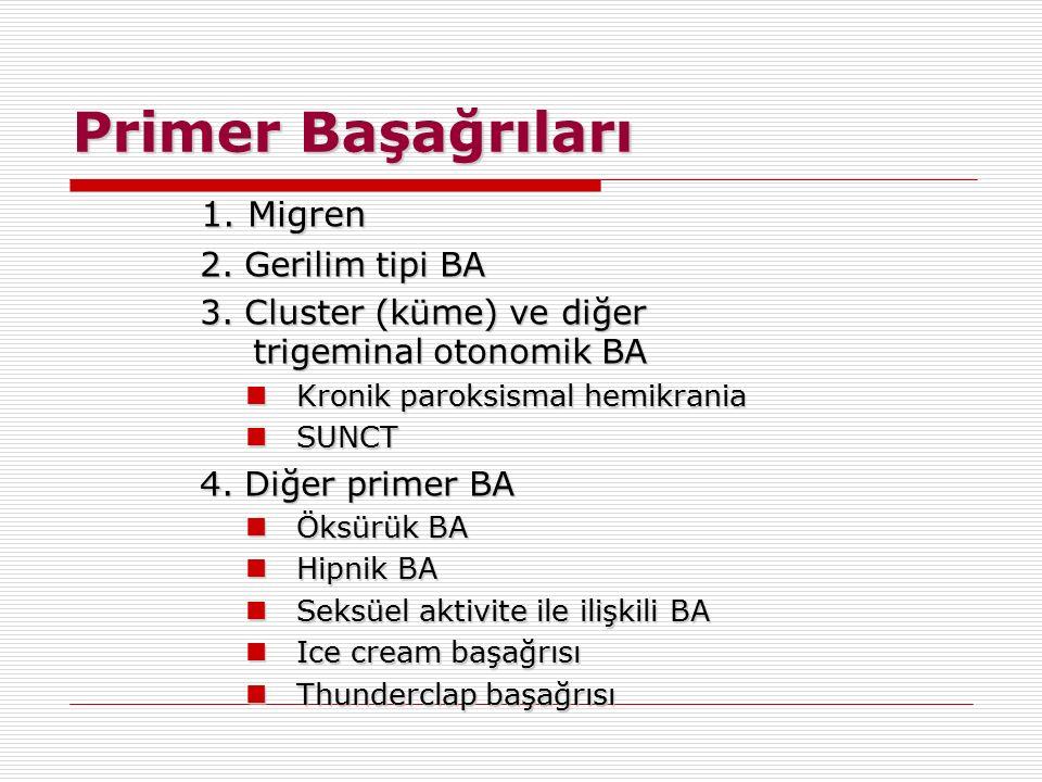 1. Migren 2. Gerilim tipi BA 3. Cluster (küme) ve diğer trigeminal otonomik BA Kronik paroksismal hemikrania Kronik paroksismal hemikrania SUNCT SUNCT