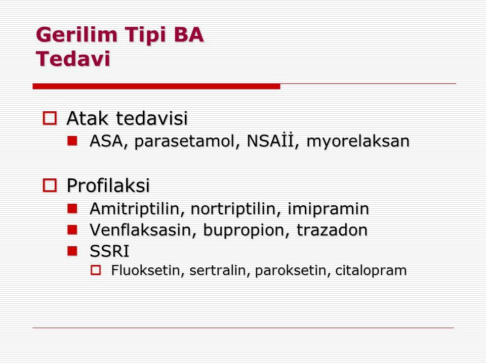 Gerilim Tipi BA Tedavi  Atak tedavisi ASA, parasetamol, NSAİİ, myorelaksan ASA, parasetamol, NSAİİ, myorelaksan  Profilaksi Amitriptilin, nortriptil