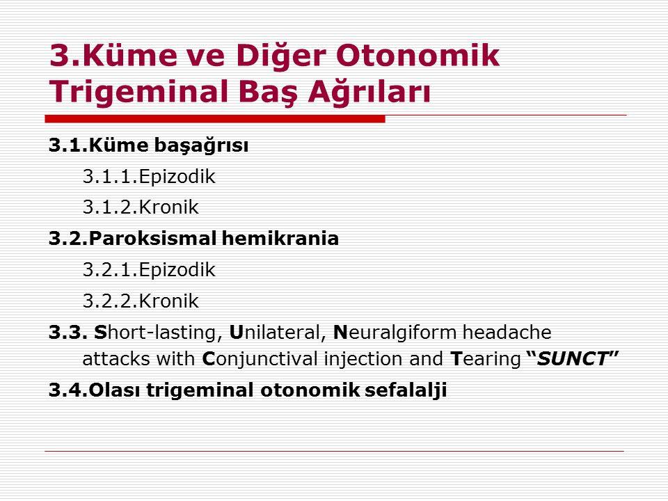 3.Küme ve Diğer Otonomik Trigeminal Baş Ağrıları 3.1.Küme başağrısı 3.1.1.Epizodik 3.1.2.Kronik 3.2.Paroksismal hemikrania 3.2.1.Epizodik 3.2.2.Kronik