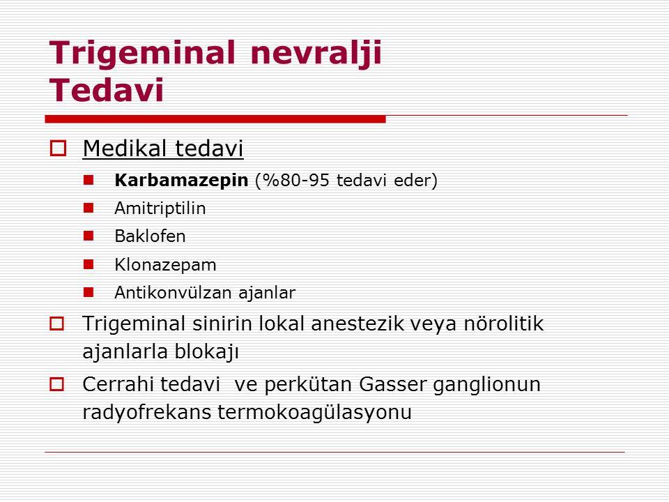 Trigeminal nevralji Tedavi  Medikal tedavi Karbamazepin (%80-95 tedavi eder) Amitriptilin Baklofen Klonazepam Antikonvülzan ajanlar  Trigeminal sini
