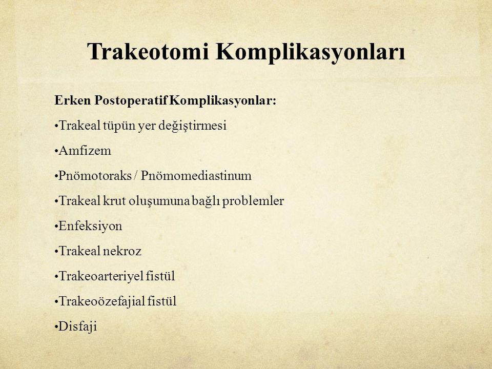 Trakeotomi Komplikasyonları Erken Postoperatif Komplikasyonlar: Trakeal tüpün yer değiştirmesi Amfizem Pnömotoraks / Pnömomediastinum Trakeal krut oluşumuna bağlı problemler Enfeksiyon Trakeal nekroz Trakeoarteriyel fistül Trakeoözefajial fistül Disfaji