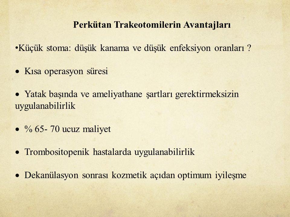 Perkütan Trakeotomilerin Avantajları Küçük stoma: düşük kanama ve düşük enfeksiyon oranları .