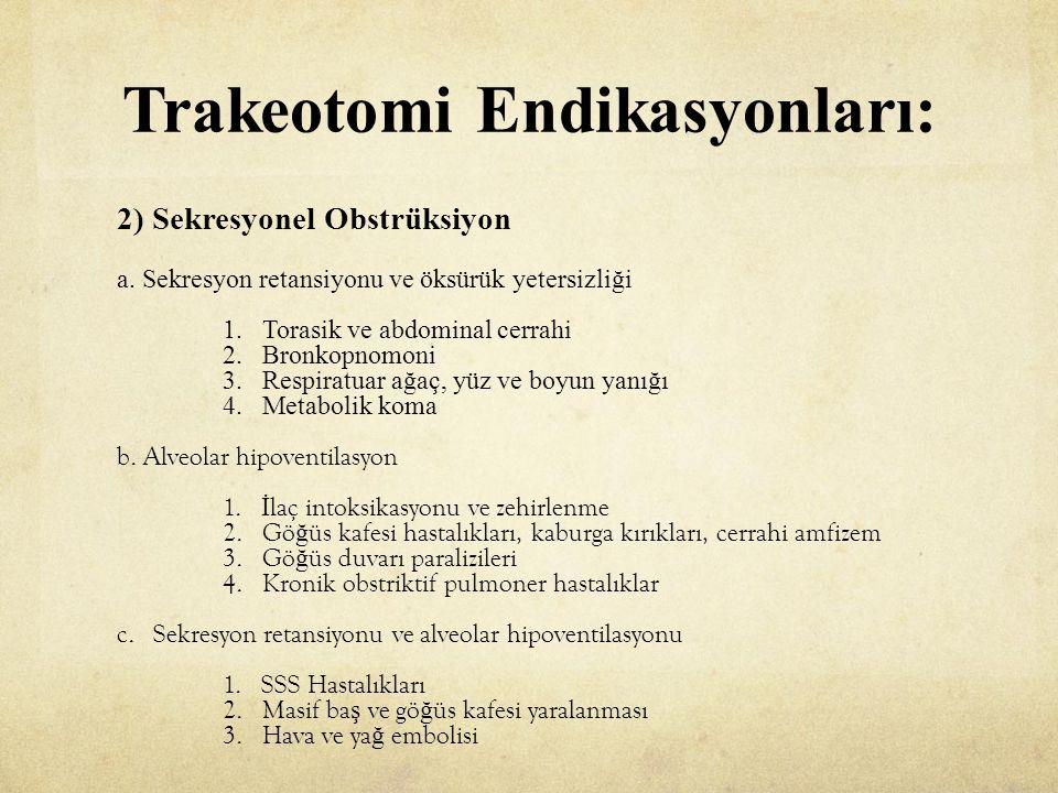 Trakeotomi Endikasyonları: 2) Sekresyonel Obstrüksiyon a.
