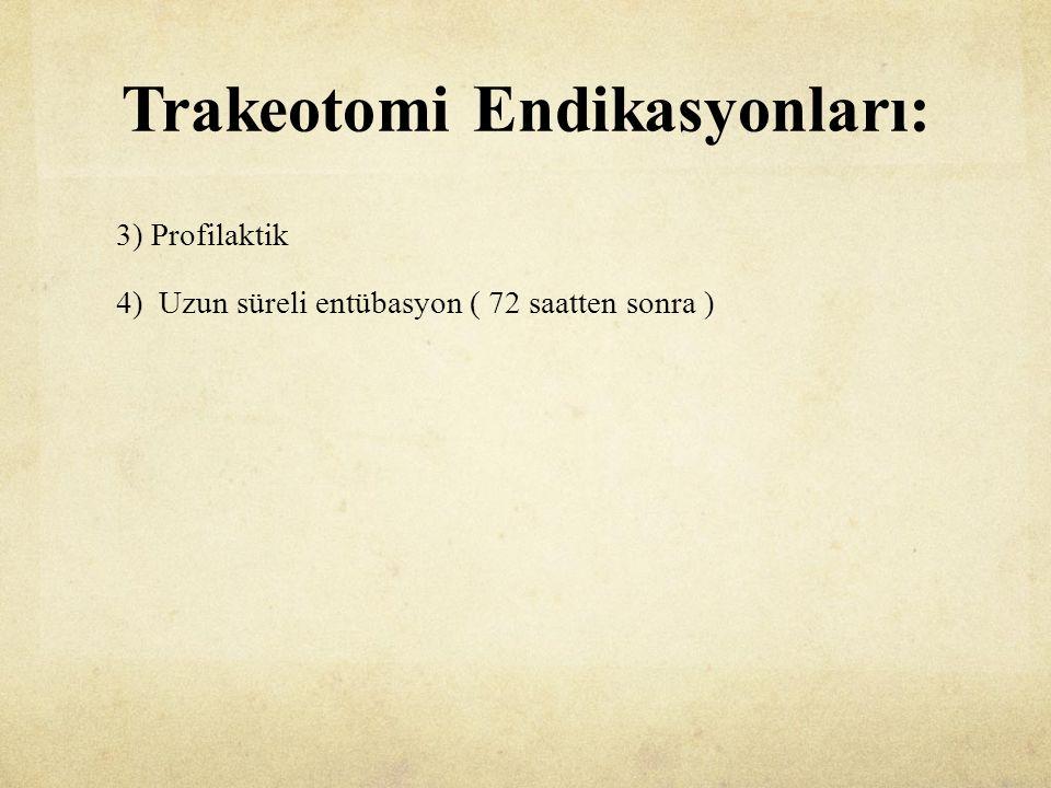 Trakeotomi Endikasyonları: 3) Profilaktik 4) Uzun süreli entübasyon ( 72 saatten sonra )