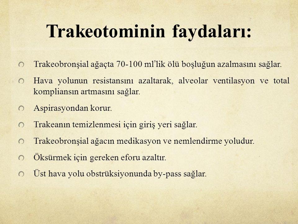 Trakeotominin faydaları: Trakeobronşial ağaçta 70-100 ml'lik ölü boşluğun azalmasını sağlar.