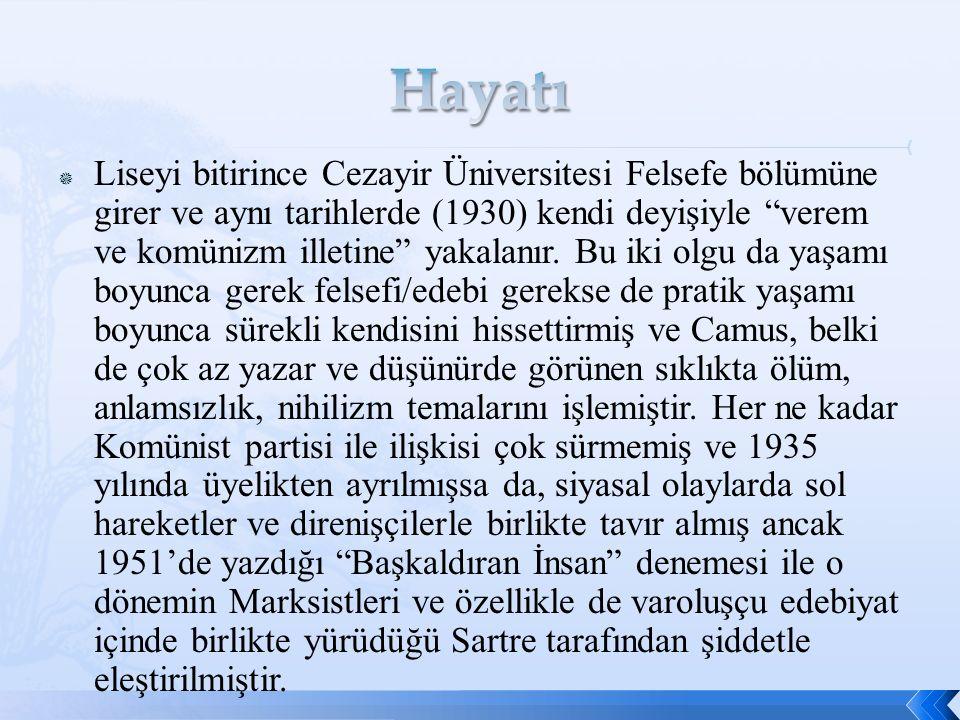  Liseyi bitirince Cezayir Üniversitesi Felsefe bölümüne girer ve aynı tarihlerde (1930) kendi deyişiyle verem ve komünizm illetine yakalanır.