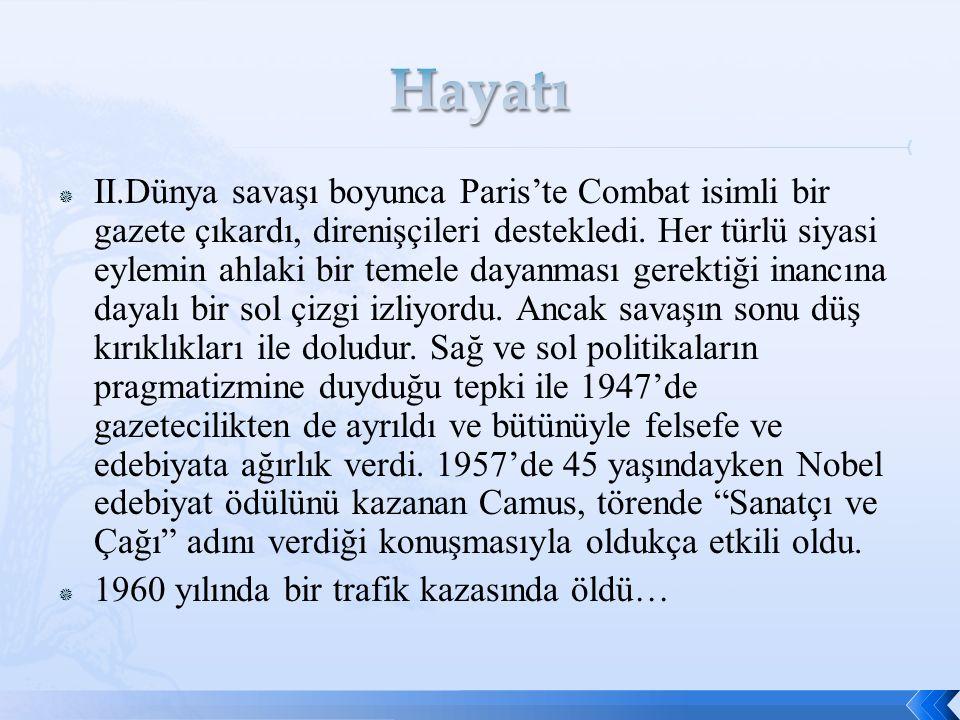  II.Dünya savaşı boyunca Paris'te Combat isimli bir gazete çıkardı, direnişçileri destekledi.