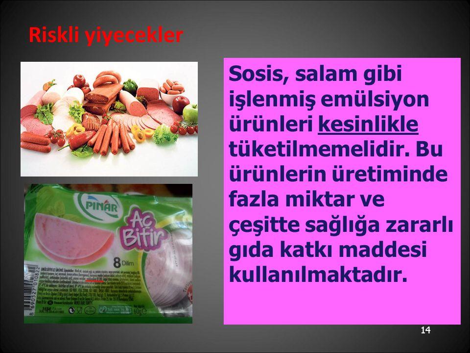 Riskli yiyecekler Sosis, salam gibi işlenmiş emülsiyon ürünleri kesinlikle tüketilmemelidir.