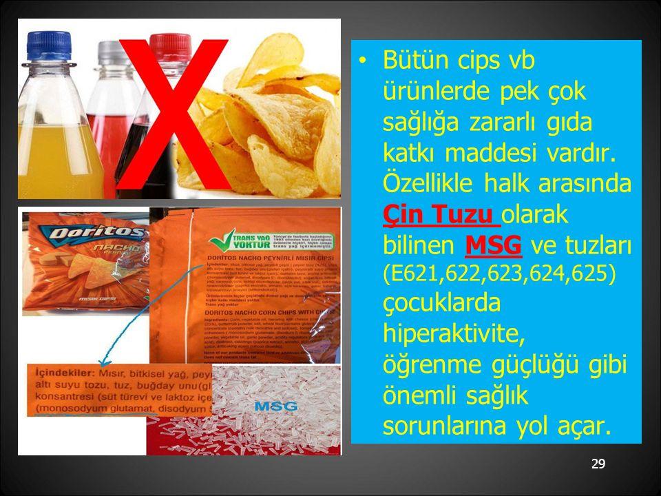 29 Bütün cips vb ürünlerde pek çok sağlığa zararlı gıda katkı maddesi vardır.