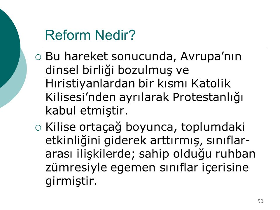 50 Reform Nedir.