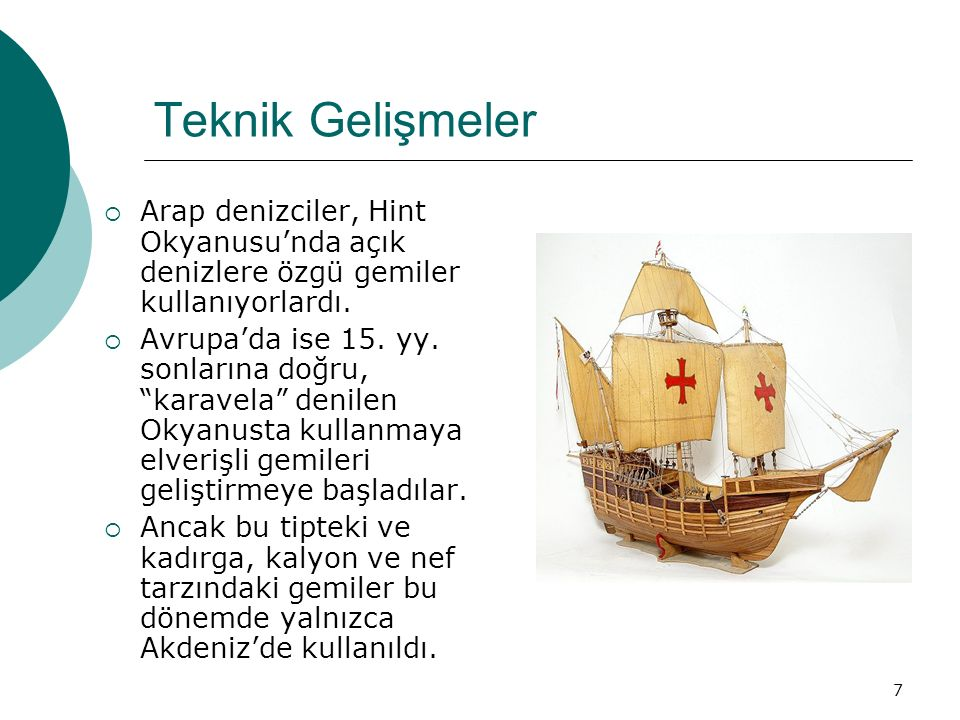 """7 Teknik Gelişmeler  Arap denizciler, Hint Okyanusu'nda açık denizlere özgü gemiler kullanıyorlardı.  Avrupa'da ise 15. yy. sonlarına doğru, """"karave"""