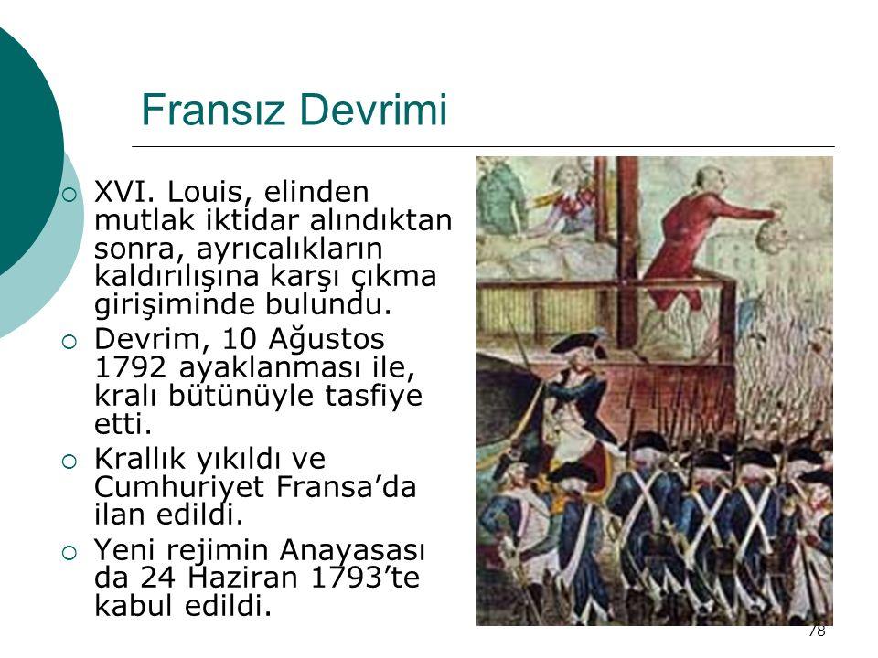 78 Fransız Devrimi  XVI. Louis, elinden mutlak iktidar alındıktan sonra, ayrıcalıkların kaldırılışına karşı çıkma girişiminde bulundu.  Devrim, 10 A
