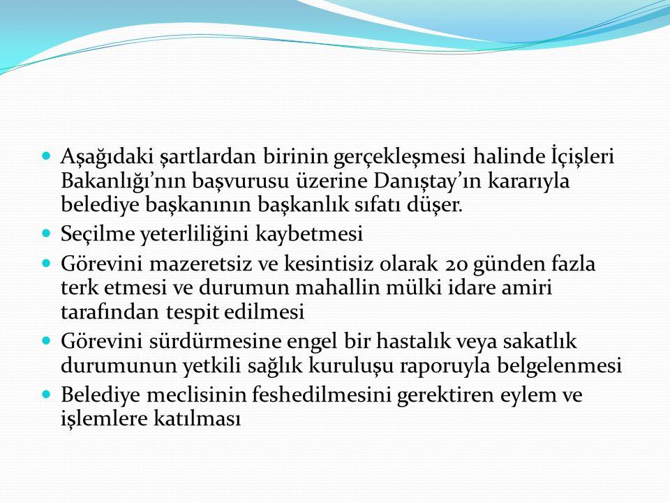 Aşağıdaki şartlardan birinin gerçekleşmesi halinde İçişleri Bakanlığı'nın başvurusu üzerine Danıştay'ın kararıyla belediye başkanının başkanlık sıfatı