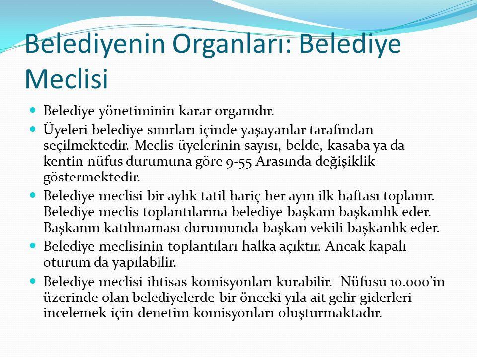 Belediyenin Organları: Belediye Meclisi Belediye yönetiminin karar organıdır. Üyeleri belediye sınırları içinde yaşayanlar tarafından seçilmektedir. M