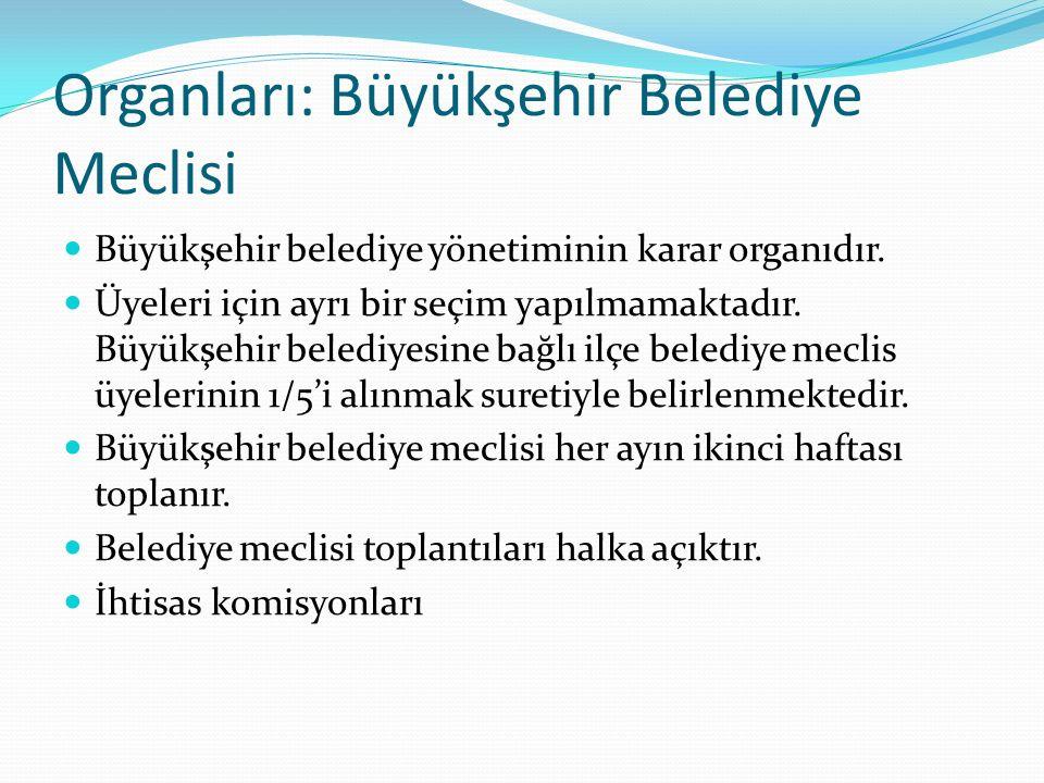 Organları: Büyükşehir Belediye Meclisi Büyükşehir belediye yönetiminin karar organıdır. Üyeleri için ayrı bir seçim yapılmamaktadır. Büyükşehir beledi