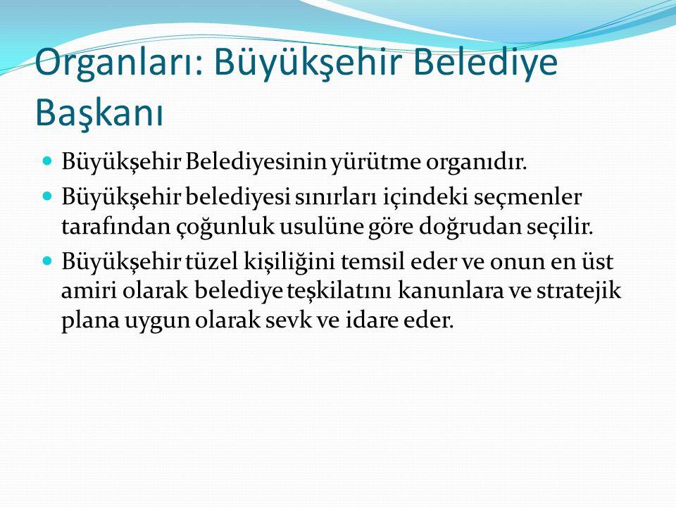 Organları: Büyükşehir Belediye Başkanı Büyükşehir Belediyesinin yürütme organıdır. Büyükşehir belediyesi sınırları içindeki seçmenler tarafından çoğun